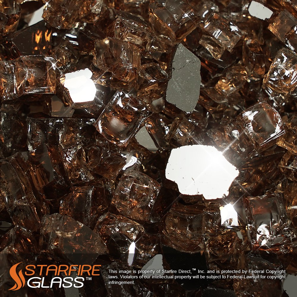 Starfire Glass® 20-Pound x 1/2-Inch, Rich-Copper (Reflective Supreme) Fire Glass for Fireplace Glass and Fire Pit Glass.