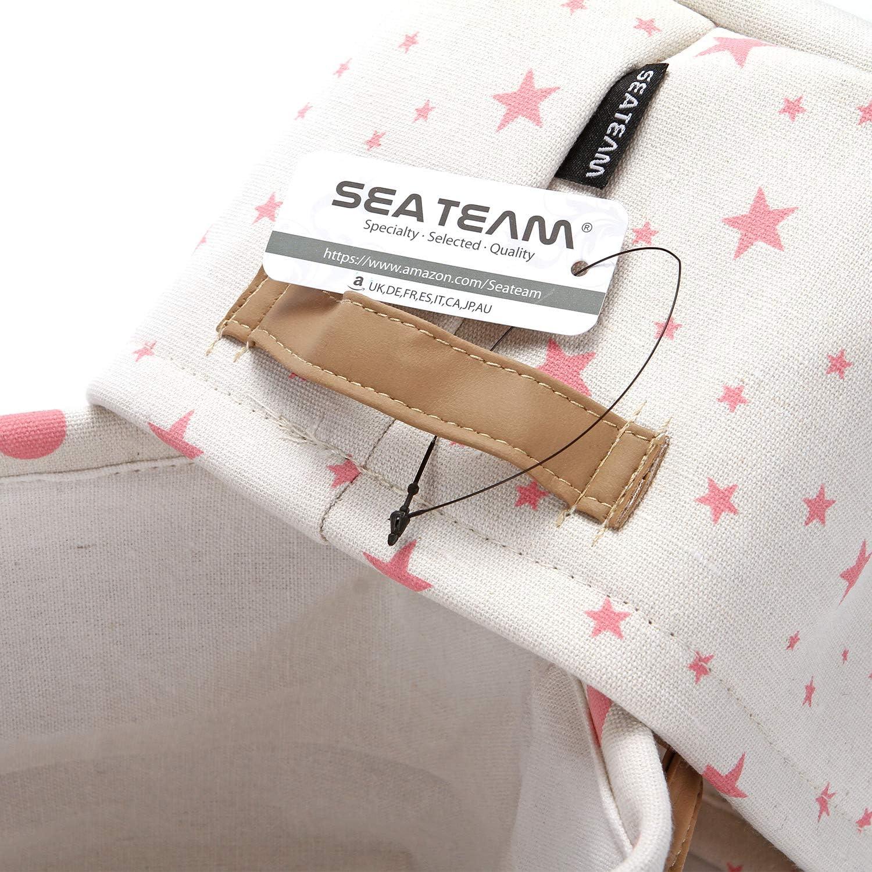 Set di 4 Sea Team Mini Quadrato Pieghevole Nuovo Tema Rosa e Bianco Contenitori di stoccaggio in Tessuto di Cotone e Lino Naturale al 100/% Organizzatori per Ripiani e scrivanie