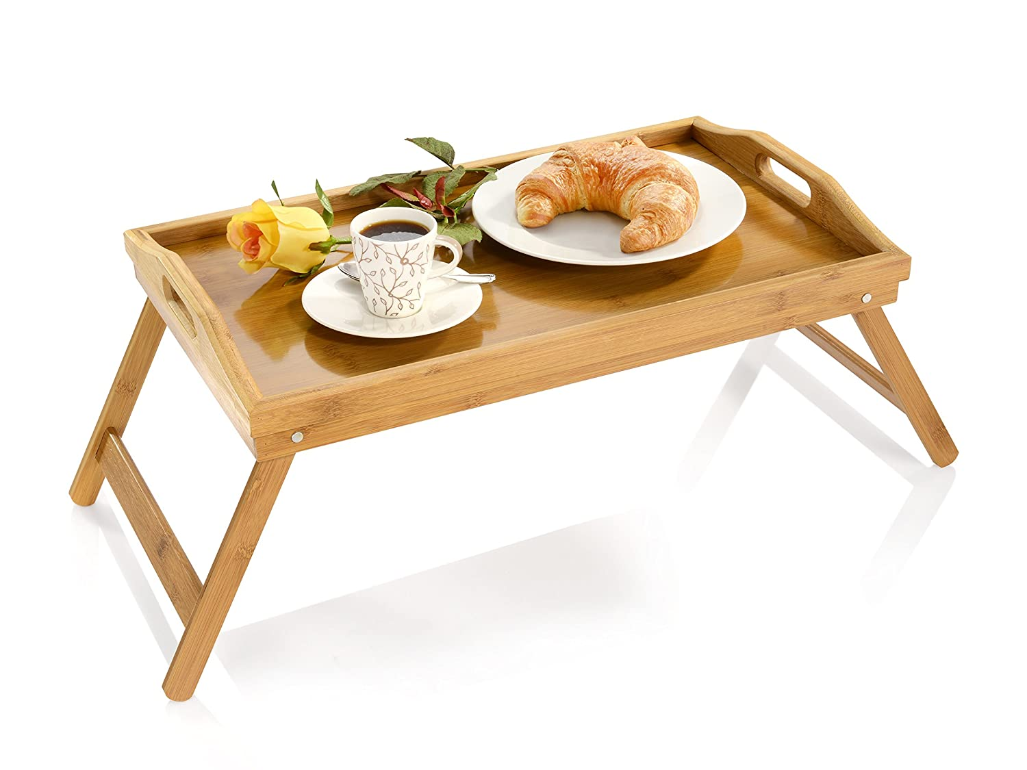 Folding Laptop Bed Tray Wooden Breakfast Serving Tray Table: Amazon.es: Hogar