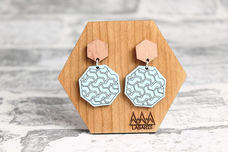 Geometric Earring Statement Earrings Dangle and Drop Earring Hexagon and Octagon Laser Cut