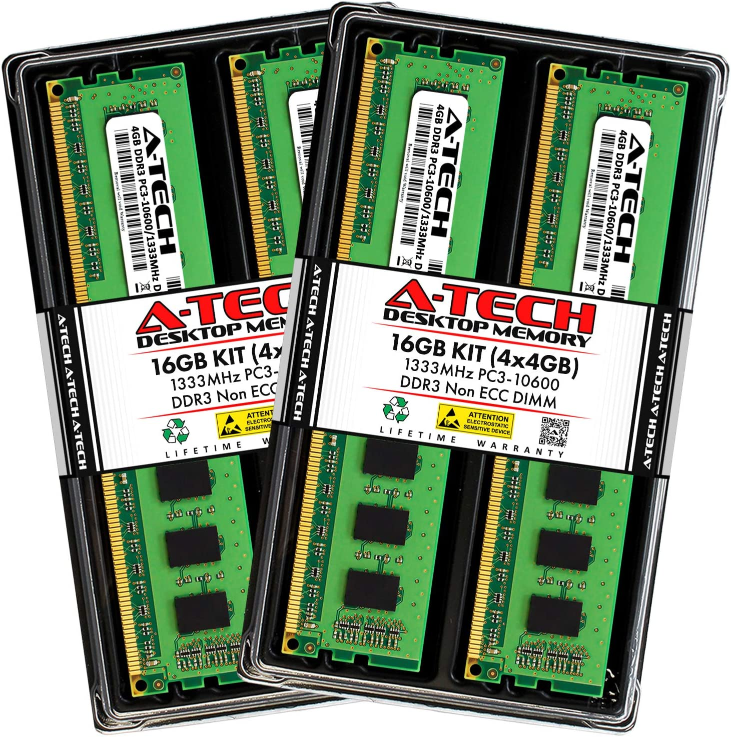 A-Tech 16GB (4x4GB) DDR3 1333MHz DIMM PC3-10600 UDIMM Non-ECC CL9 240-Pin Desktop Computer RAM Memory Upgrade Kit