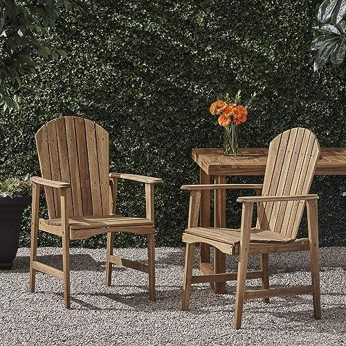 Christopher Knight Home Malibu Acacia-Wood Adirondack Outdoor Dining Chairs Set of 2 Natural