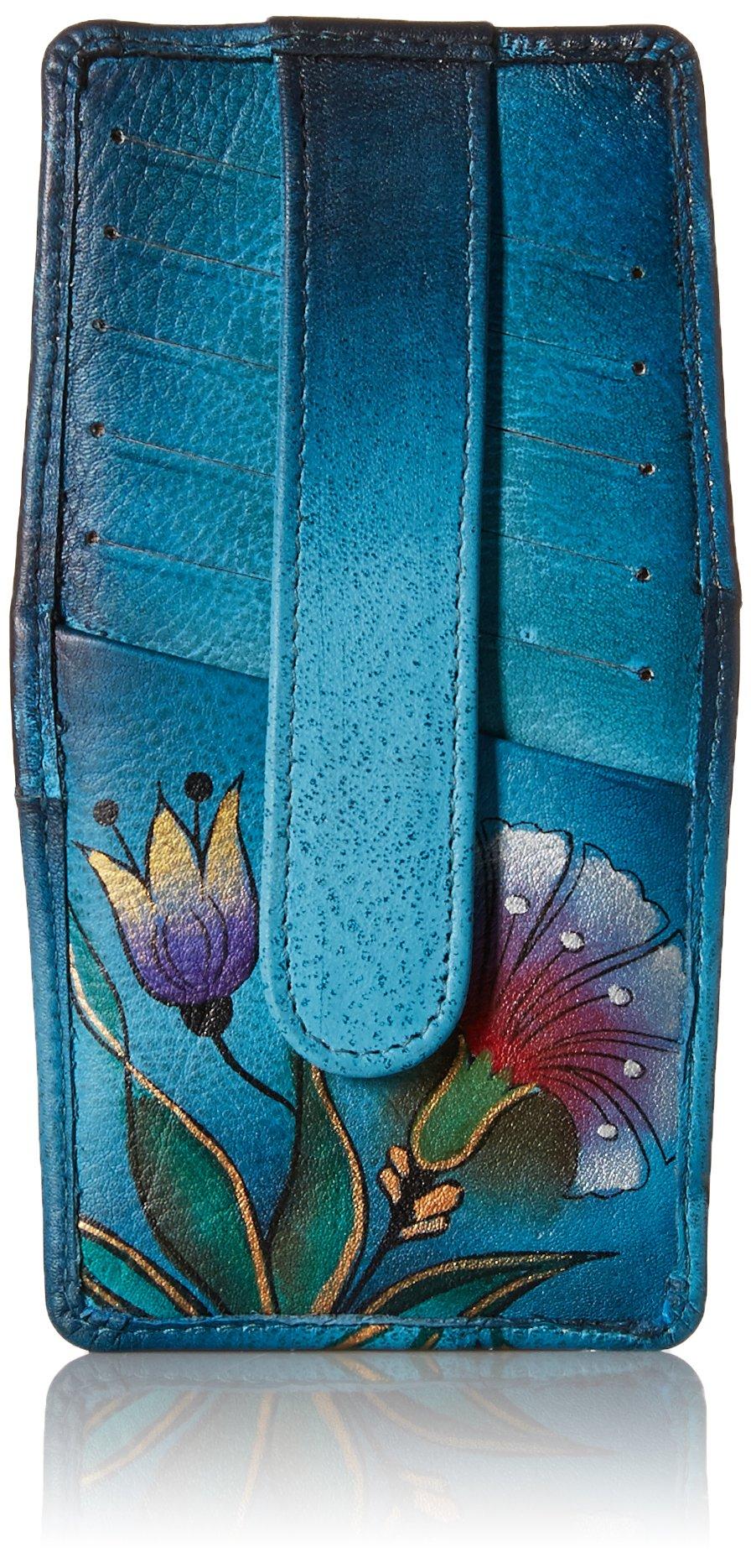 Anna by Anuschka Women's Handpainted Leather Credit Card Holder, Turkish Garden Denim, One Size