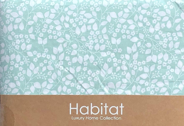 Habitat Sheet Set White Floral French Countryside Vintage Wildflower Pattern on Light Green 100/% Organic Cotton Luxury Queen Elizabeth