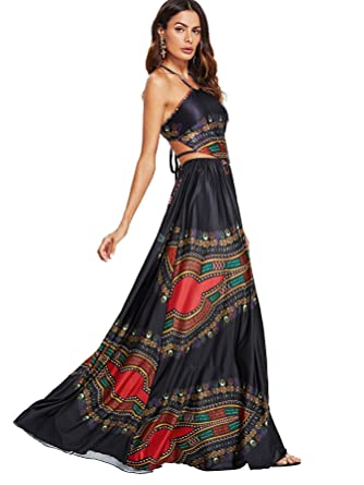 cc549c71f541d Floerns Women s Boho Print Sleeveless Halter Neck Backless Beach Party Maxi  Dress Black L