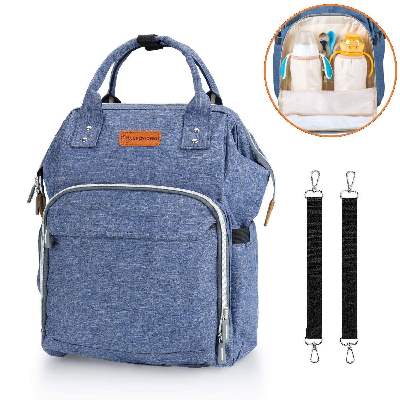Wickelrucksack Große Wickeltasche Wasserdichte Babytasche Mama Rucksack Oxford für Baby Damen Herren Kinderwagens SNAWOWO (Blau)