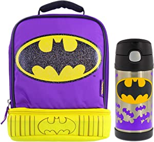 Thermos DC Batgirl Dual Compartment Lunch Box Kit-Insulated Lunch Bag with Cape and Padded Handle-12oz FUNtainer Vacuum Insulated Stainless Steel Bottle with Straw-Great for Children, Easy Transport