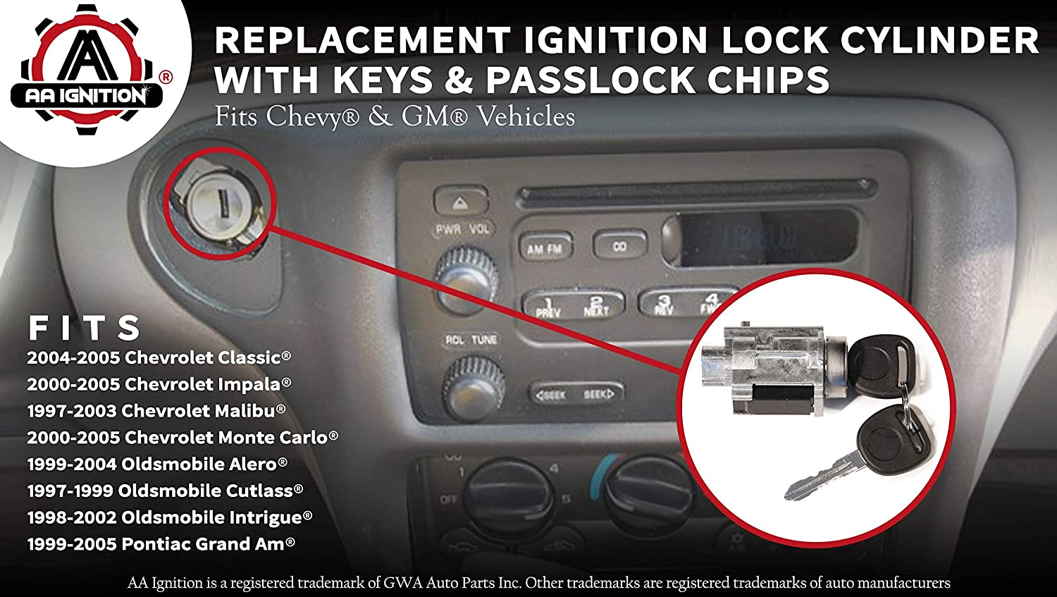 Ignition Cylinder Lock Assembly with Key for Automatic Transmissions fits Nissan