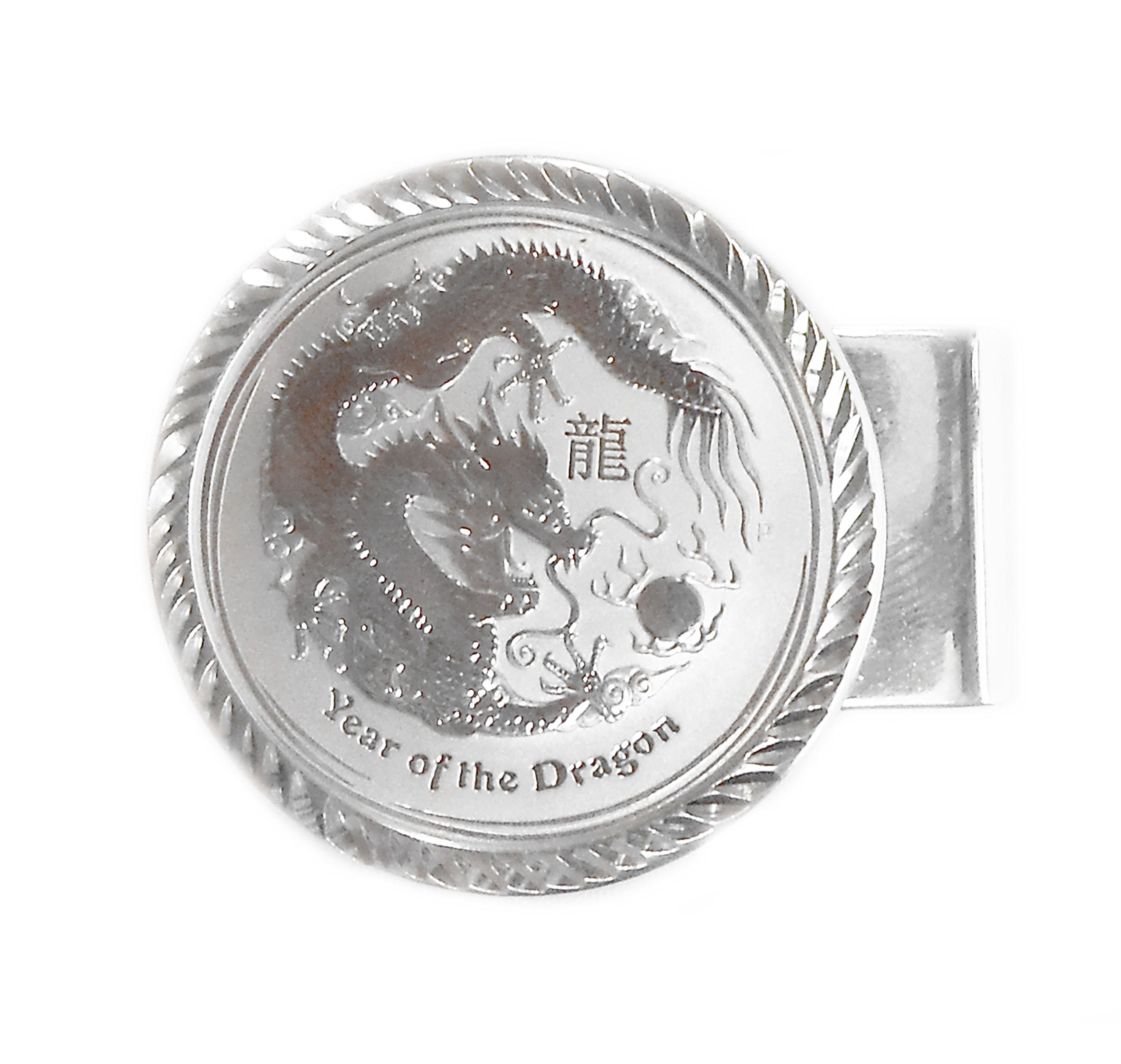 Sterling Silver 1/2 oz Year of Dragon Diamond Cut Hinge Back Money Clip With Coin