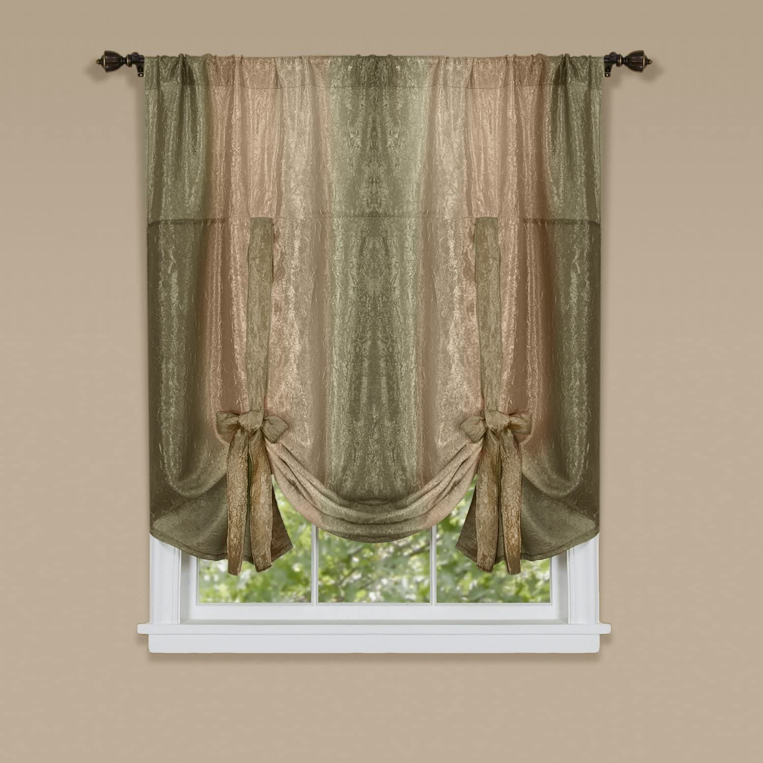 "Achim Home Furnishings Ombre Tie up Shade Window Curtain, 50"" x 63"", Earth"
