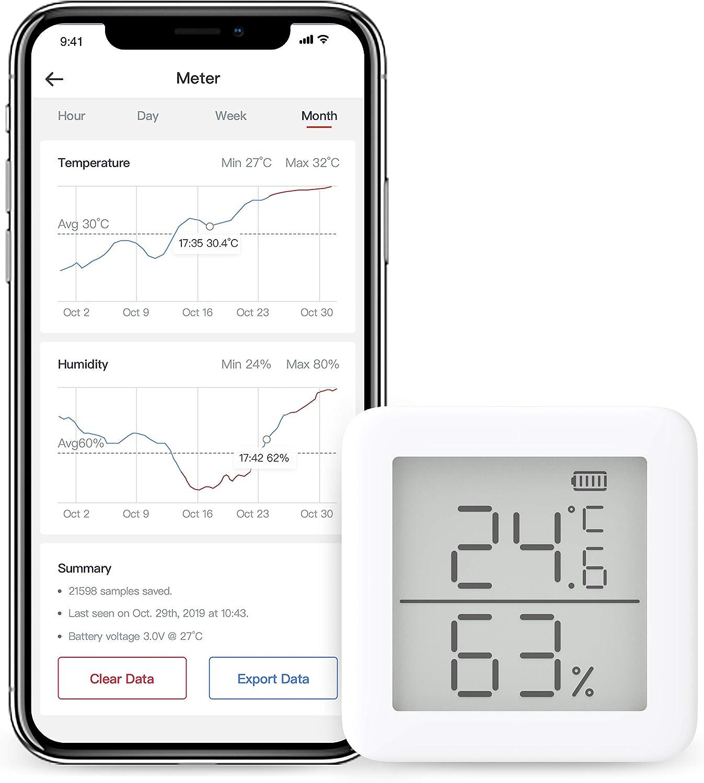 SwitchBot Termómetro e higrómetro Compatible con Alexa, Google Home, HomePod y IFTTT