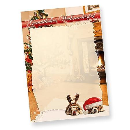 Drollige Hunde Briefpapier Weihnachten Weihnachtsbriefpapier Din A4