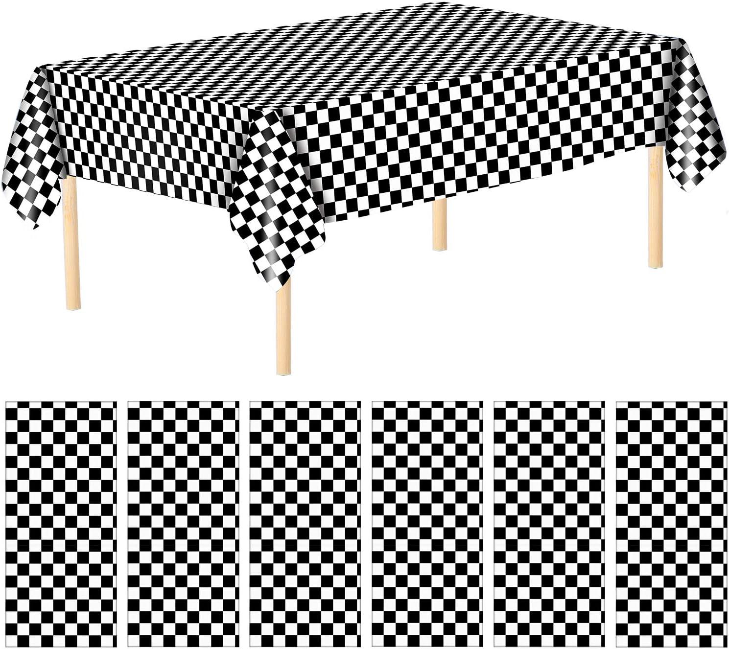 Aneco Racing - Manteles de plástico a cuadros, color blanco y negro, 137 x 274 cm, para decoración de mesas de fiesta de carreras para interiores o exteriores: Amazon.es: Hogar