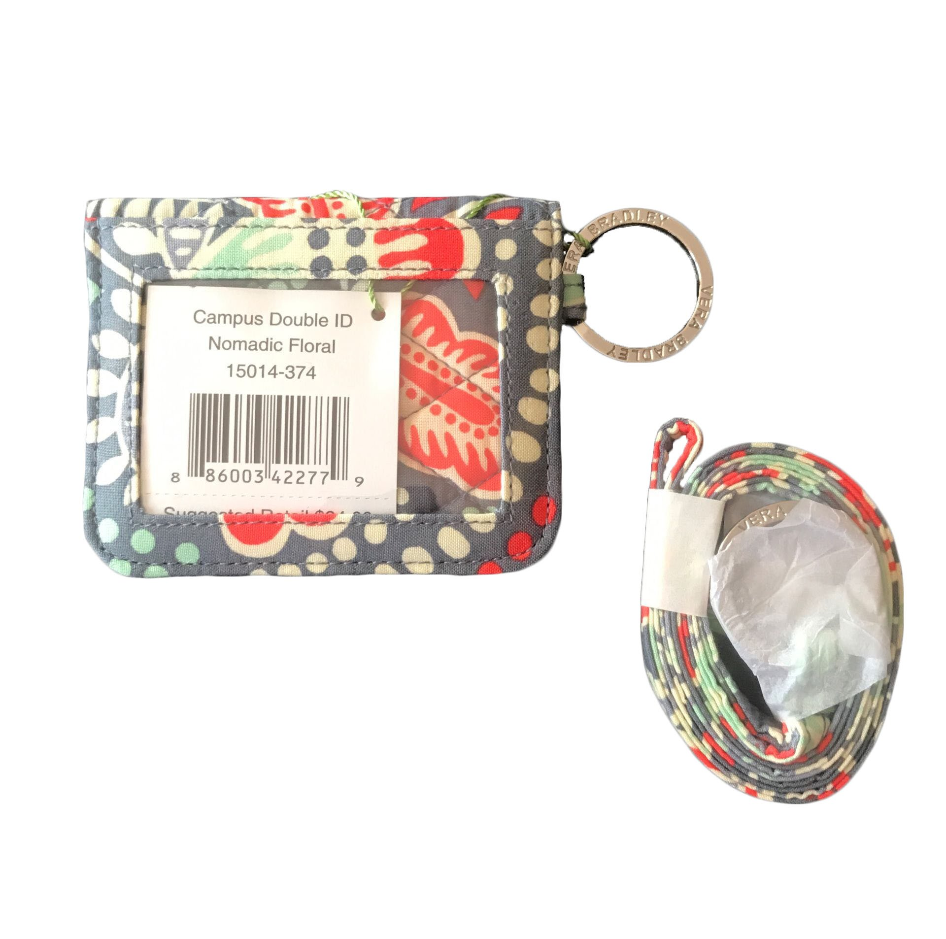Vera Bradley Campus Double ID and Lanyard in Nomadic Floral