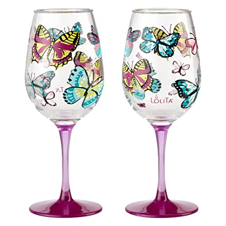 96f840f9602 Enesco 6001639 Designs by Lolita Butterfly Acrylic Wine Glasses, Set of 2,  16 oz.