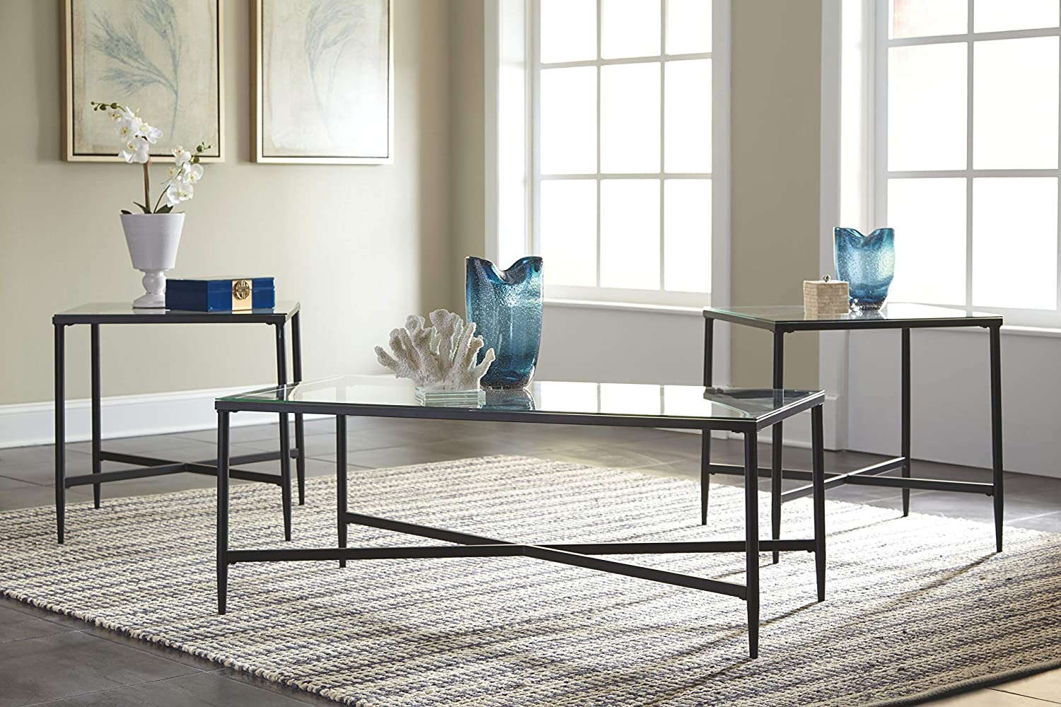 Signature Design by Ashley - Augeron Contemporary 3-Piece Table Set - Includes Cocktail Table & 2 End Tables, Black