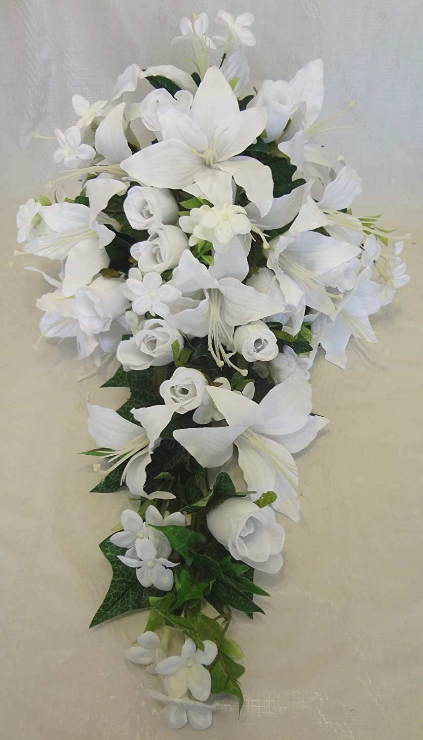 Amazoncom V Max Floral Decor Rose And Lily Wedding Bouquets White
