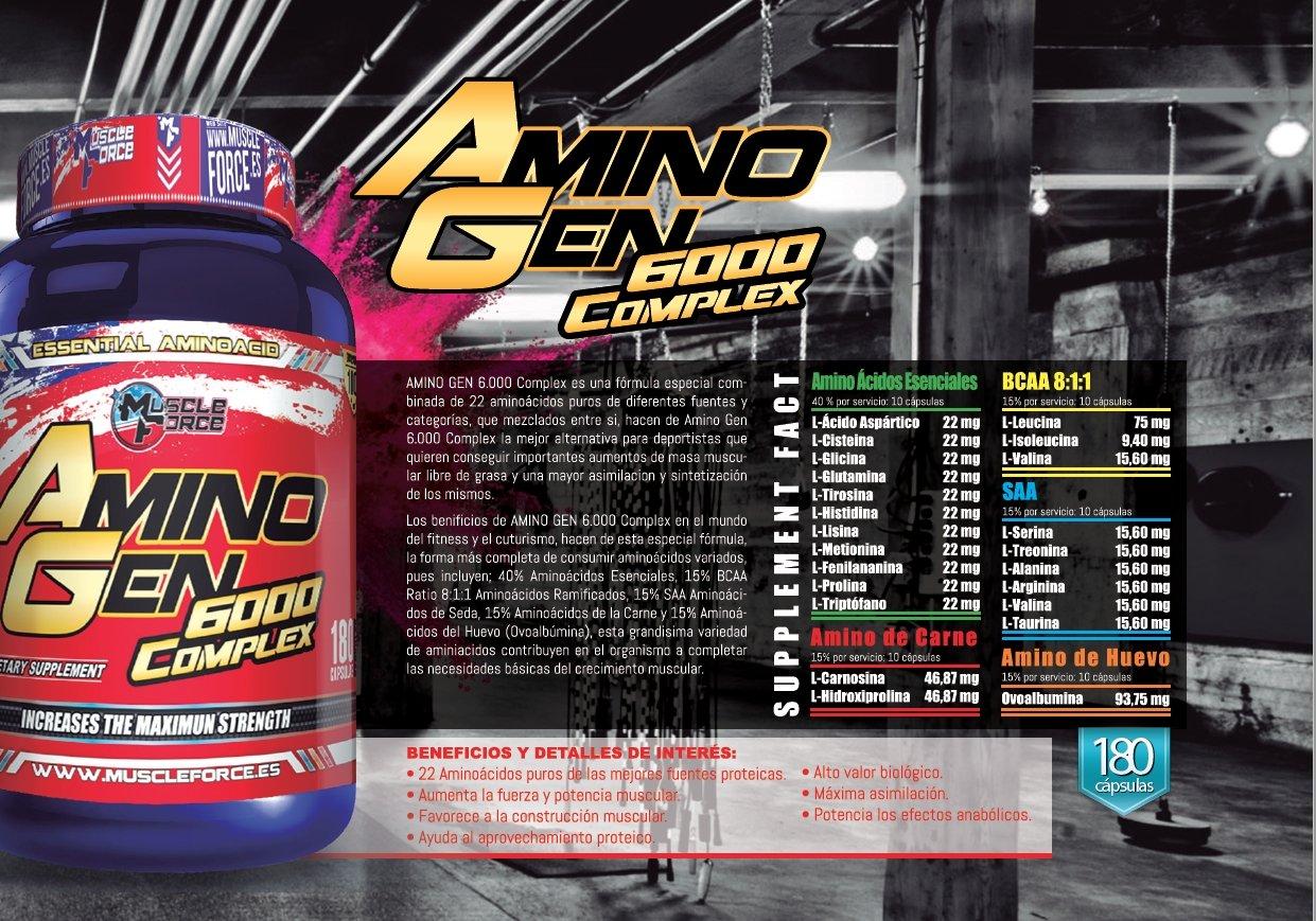 Amino Gen 6000 Complex 180 Capsulas Bcaa, Aminoácidos Esenciales: Amazon.es: Salud y cuidado personal