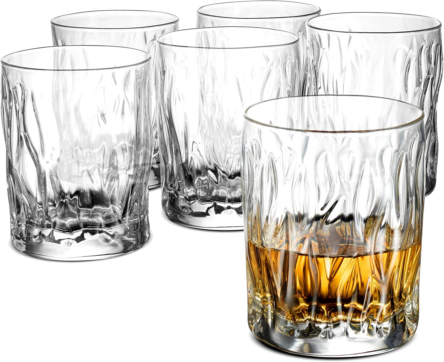 Double Old Fashioned Whiskey glasses - Set of 6 - Whiskey Glass set, 11 ¾ Ounce Crystal Clear Cocktail Glasses Barware For Whisky, Bourbon, Scotch, Water, Juice, Rock Glasses Drinking Glasses Gift Set