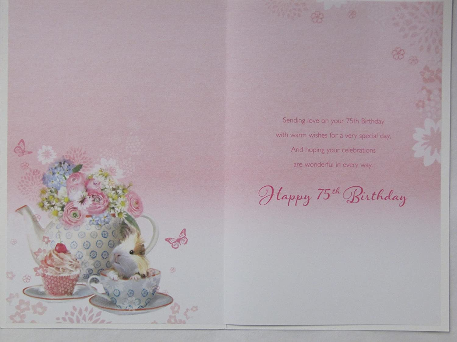 GORGEOUS GLITTER COATED BEAUTIFUL FLOWERS HAPPY 75TH BIRTHDAY GREETING CARD