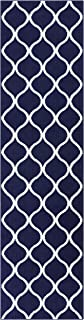 product image for Maples Rugs Rebecca Contemporary Runner Rug Non Slip Hallway Entry Carpet [Made in USA], 2'6 x 10, Navy Blue/White