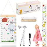 Growth Chart for Kids with Photo Pockets - Wood Frame Hanging Rope Measuring Height for Nursery Playroom Bedroom-Ruler and Bl