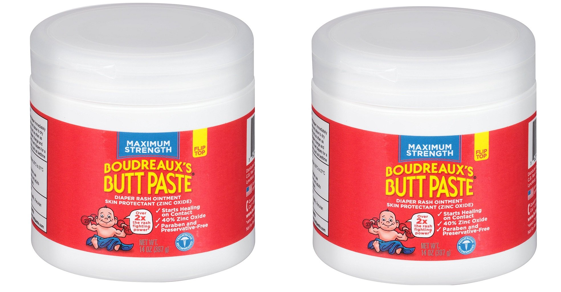 Boudreauxs Butt Paste Diaper Rash Ointment, hmNLJa, Maximum Strength - Contains 40% Zinc Oxide - Pediatrican Recommended - Paraben and Preservative-Free - 2Pack (14 Ounce) by BORDEAUX'S