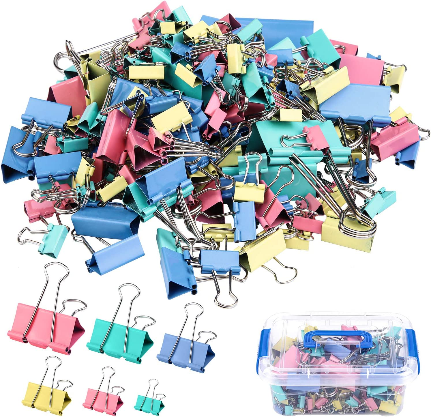 ADXCO 200 Pcs Colored Binder Clips, Metal Fold Back Clips with Box Paper Clamps with 4 Colors and 6 Sizes in 1 Pack for Office, School and Home Supplies