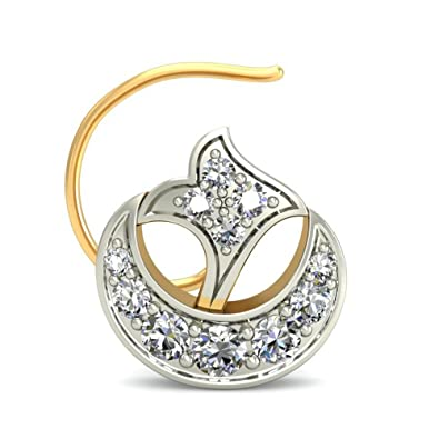 Belle Diamante 14KT Yellow Gold and Diamond Nose Pin Nose Rings   Pins