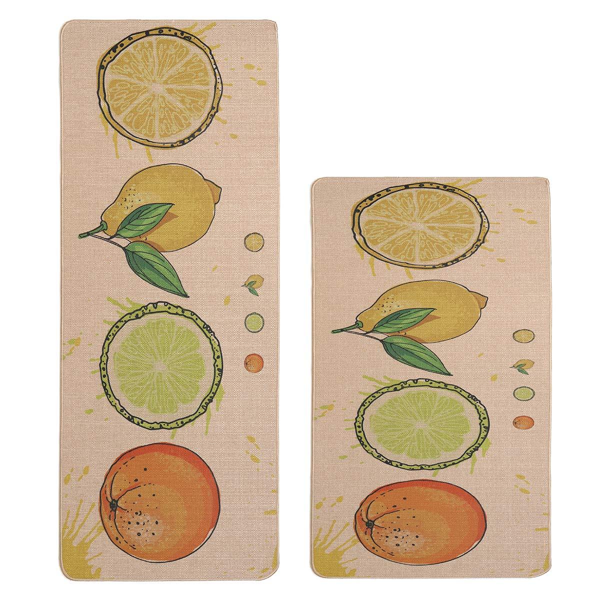 "Kitchen Rugs,LEEVAN 2 PCS Vintage Microfiber Non-Skid/Slip Rubber Back Washable Doormat Floormat Area Rug Carpet (17"" X 29""+17"" X 59"", Fruits)"