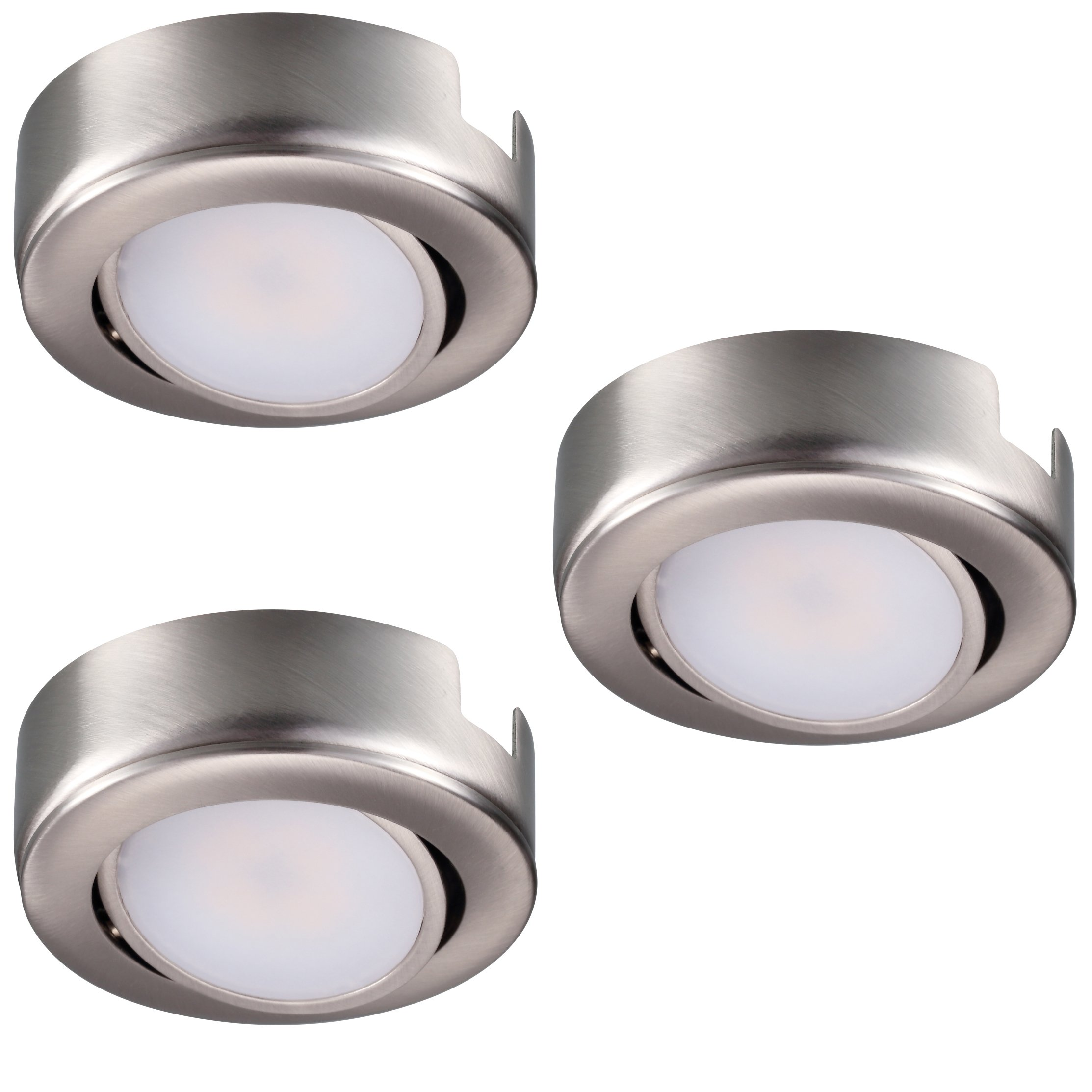 GetInLight Dimmable and Swivel, LED Puck Light Kit with ETL List, Recessed or Surface Mount Design, Warm White 2700K, Brushed Nickel Finish, (Pack of 3), IN-0107-3-SN