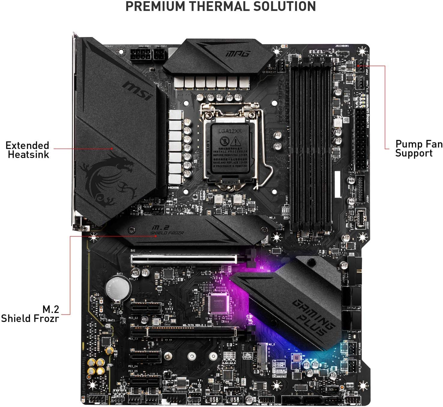 MSI MPG Z490 GAMING PLUS Motherboard ATX, LGA1200, DDR4, LAN, USB 3.2 Gen2, Type C, M.2, DisplayPort, HDMI, Pre-installed I/O Shield, RGB Mystic Light, Gen 4 Ready, 10th Gen Intel Core