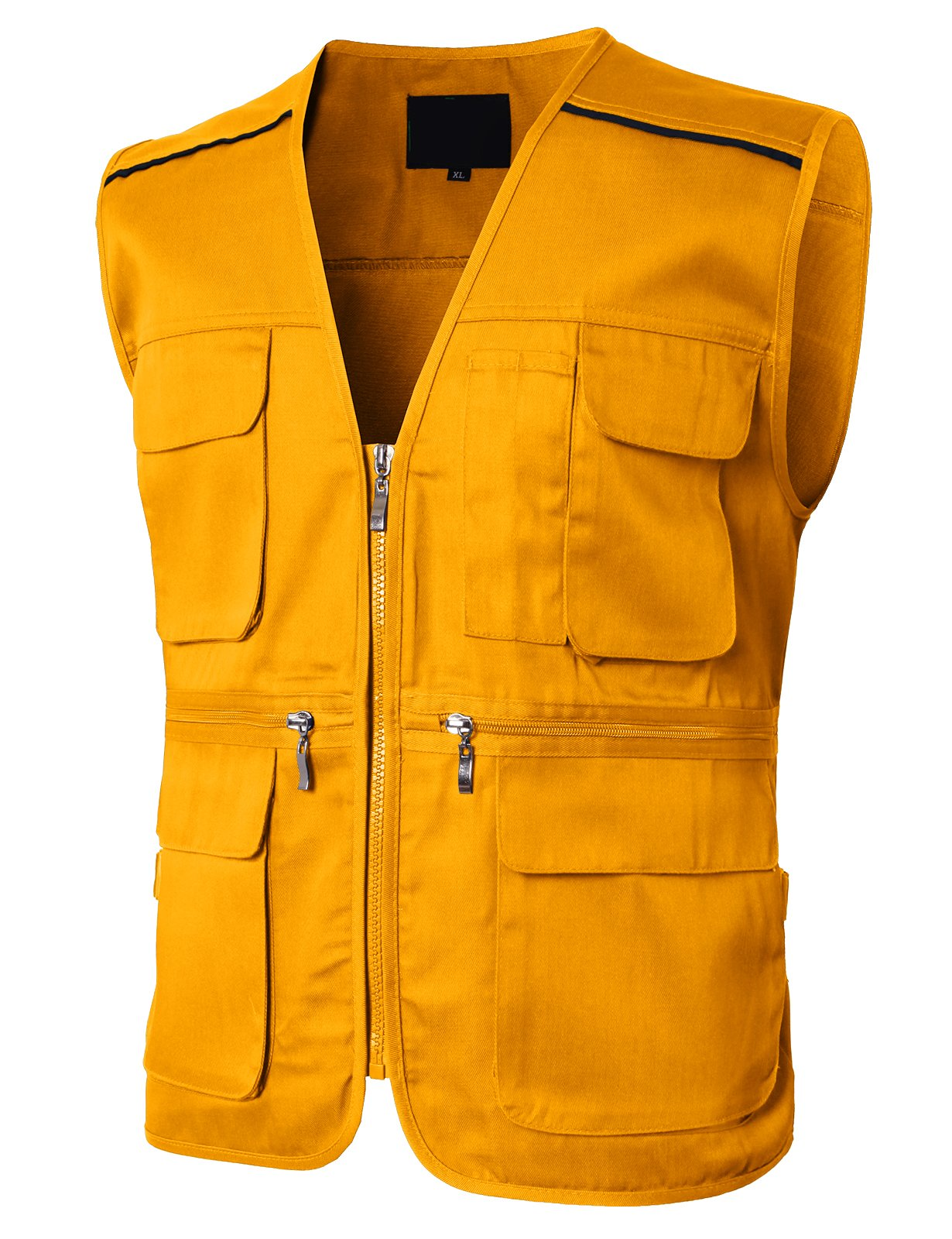H2H Mens Casual Work Utility Outdoor Multi Pocket Safari Vest of Line Point Yellow US L/Asia XL (KMOV0145)