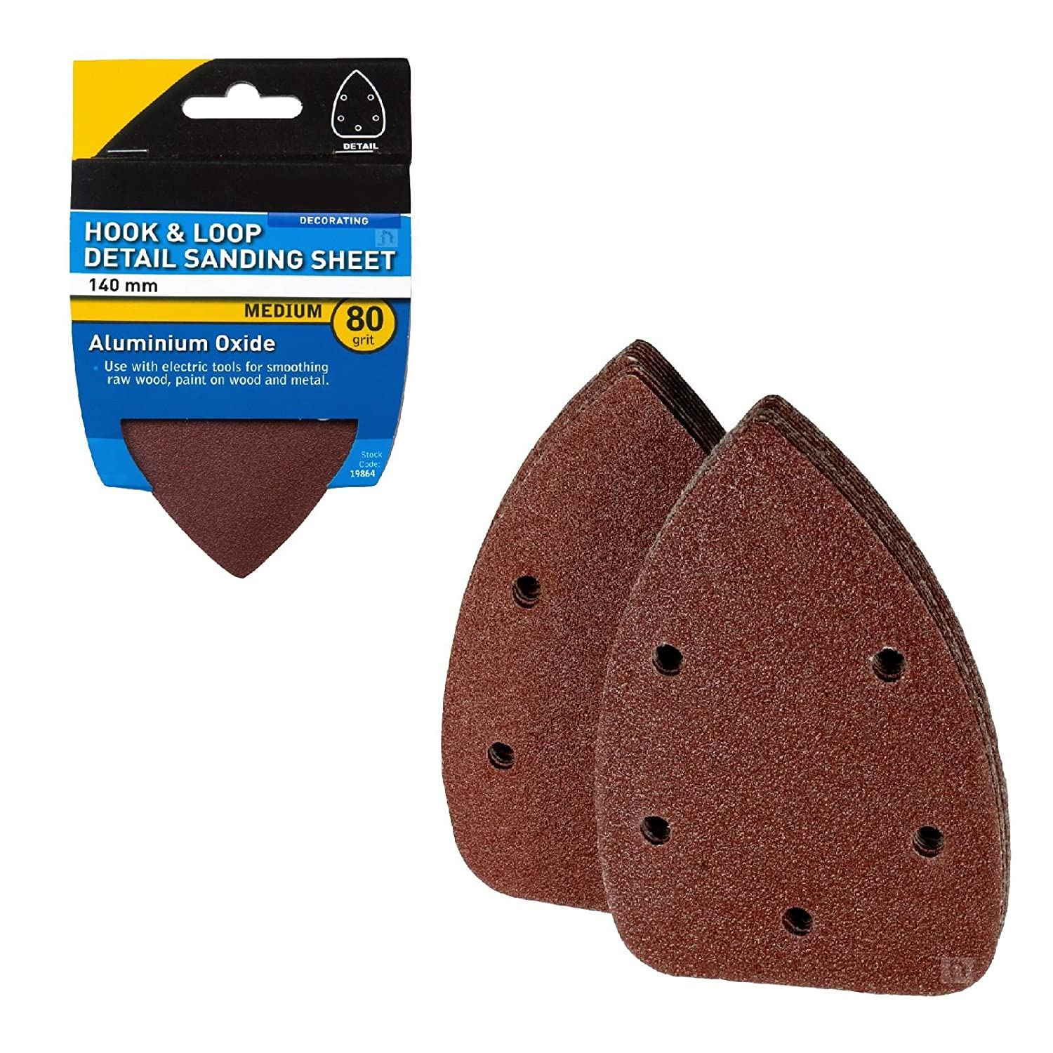 20 x Hook and Loop 140mm Detail Sanding Sheets 80 Grit Triangle Sandpaper Pads