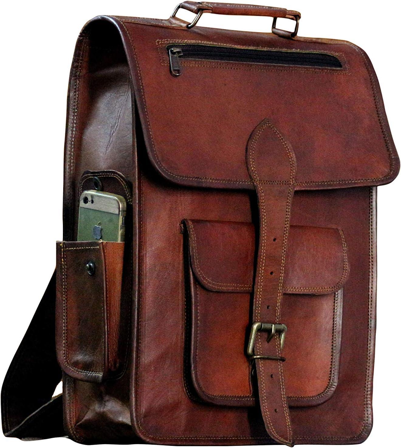 """16"""" Vintage leather Backpack Laptop Messenger Bag Lightweight School College Rucksack Sling for Men Women"""