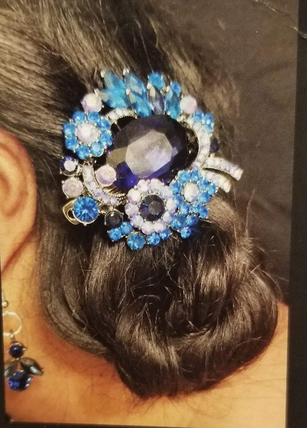 A Beautiful Pink Green And Blue Stone Embellished Silver Hair Comb