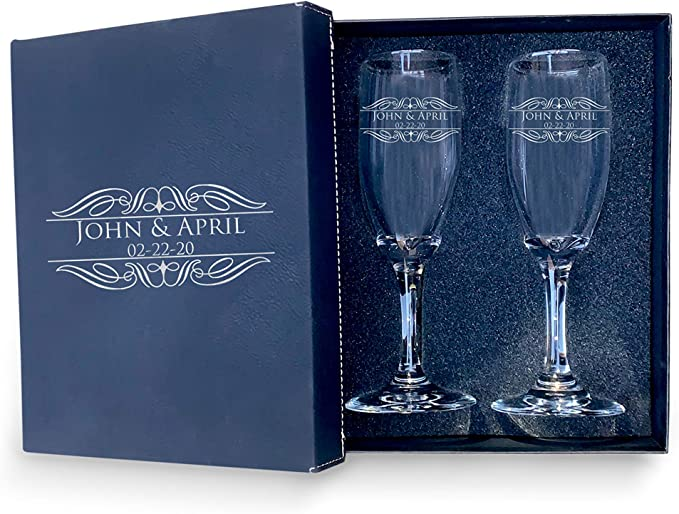 Set of 2-Pick your Design-Engraved Glass Champagne Flutes-Engraved Champagne Glasses for the Bride and Groom Toast Glasses