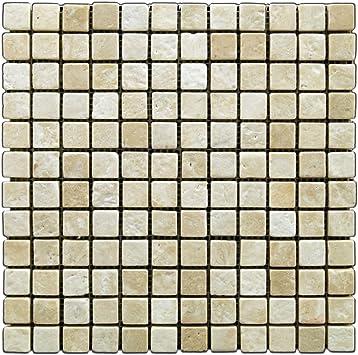 Box of 5 sq Durango Cream 1 X 1 Tumbled Travertine Mosaic Tile ft.