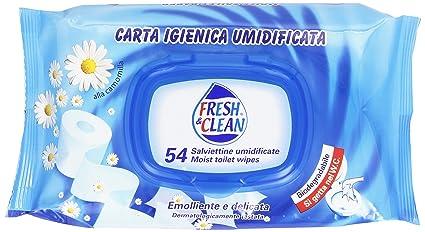 Fresh & Clean – Toallitas húmedas, papel higiénico Emolliente y delicado – 54 piezas –