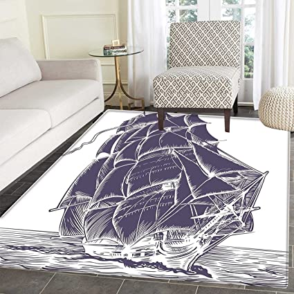 Amazon Com Nautical Rugs For Bedroom Old Sail Boat In The Ocean On