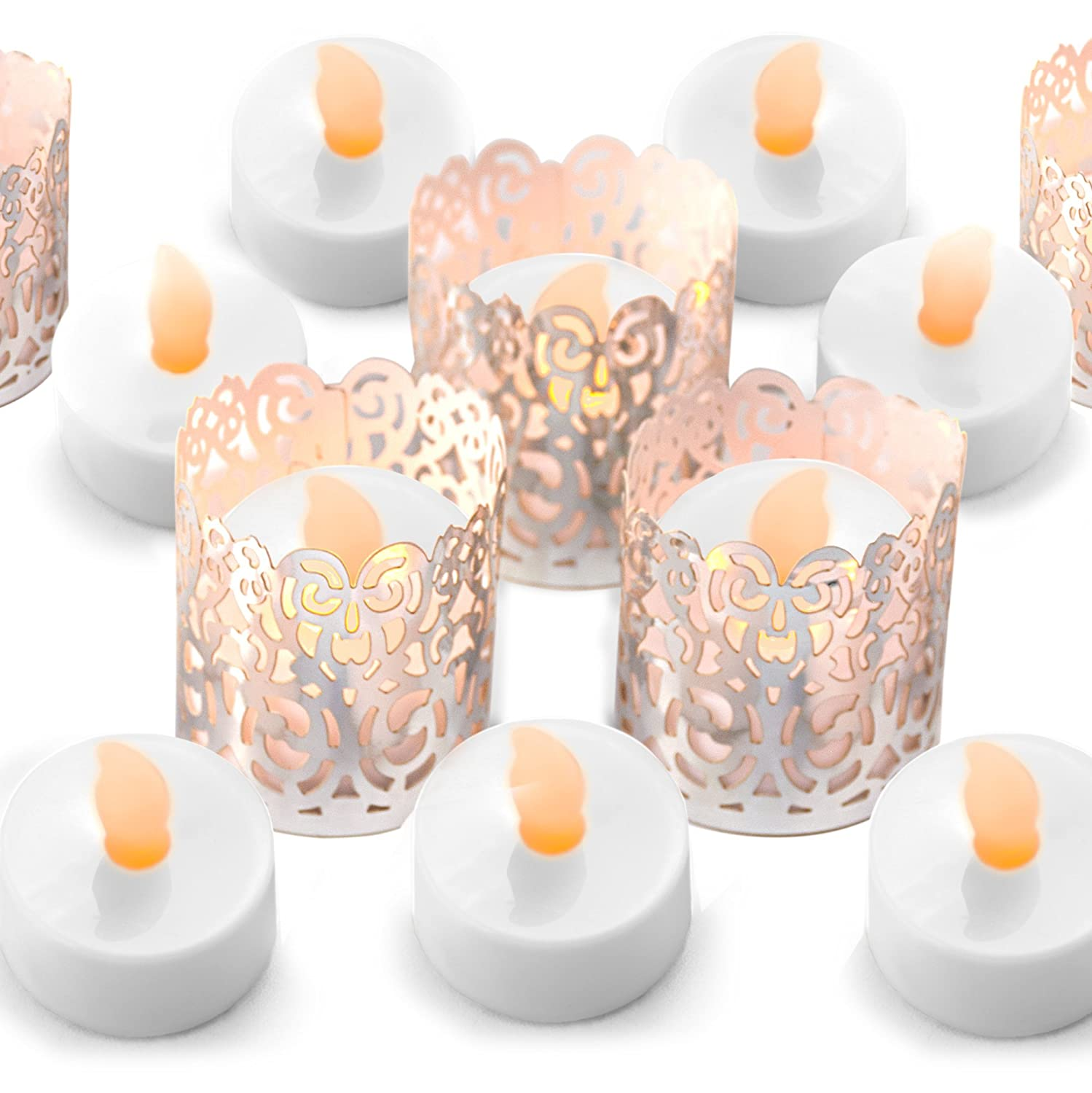Frux Home and Yard FLAMELESS Tea Light Set 24 Flickering LED Battery Tealight Candles Copper Decorative Votive Wraps Included