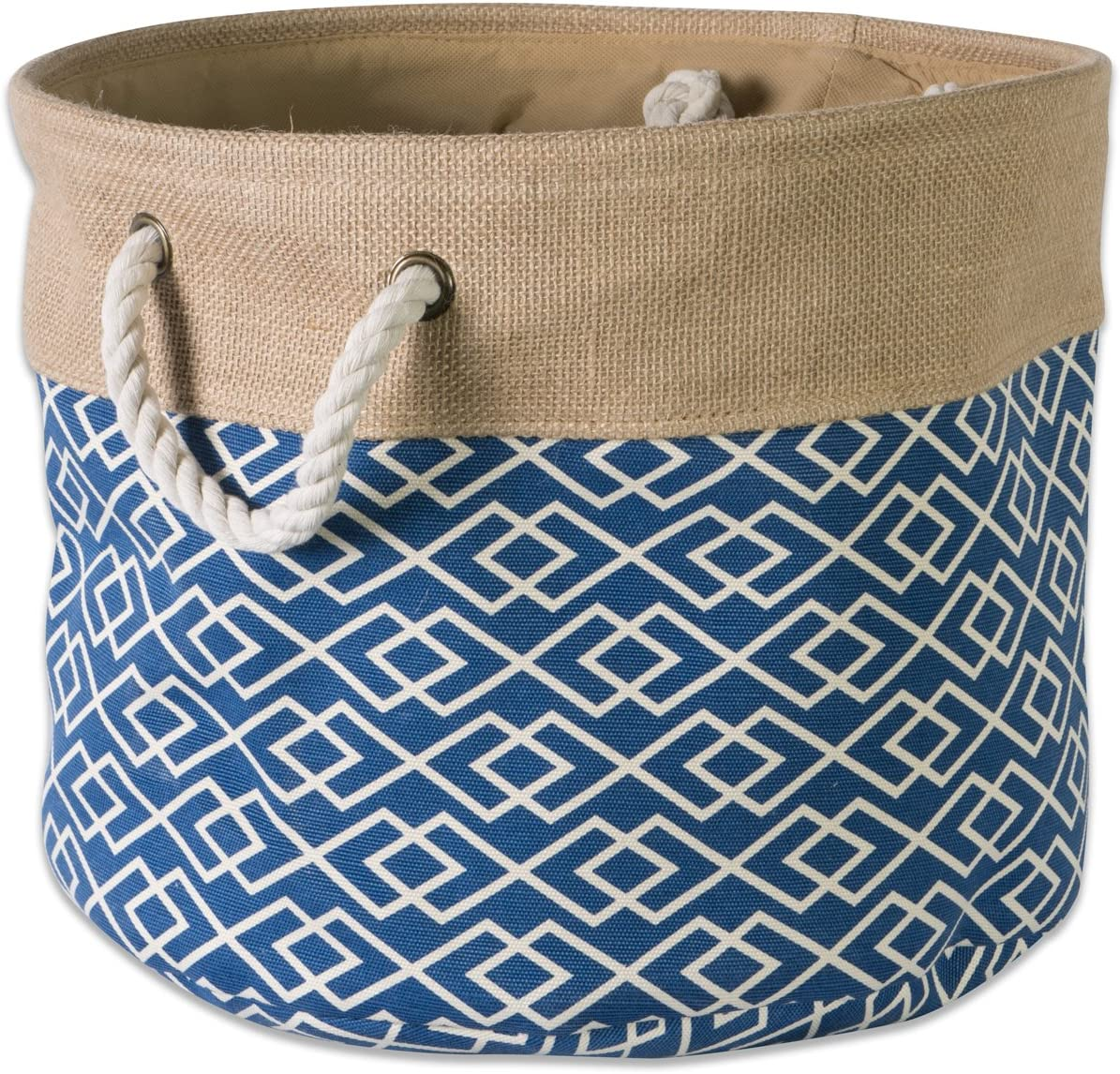 """DII CAMZ37144Collapsible Burlap Storage Basket or Bin with Durable Cotton Handles, Home Organizational Solution for Office, Bedroom, Closet, Toys, & Laundry (Medium Round - 15x12""""), Diamond Navy"""