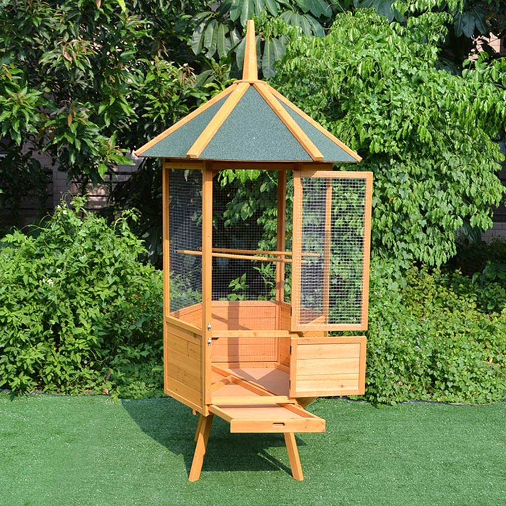 XUANLAN Pajarera de Madera Hexagonal casa del pájaro al Aire Libre Impermeable Jaula de pájaros de la jerarquía del pájaro Neto Grandes de la Bella con Feed Puerta, Perca, Bandejas: Amazon.es: Hogar