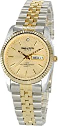 Swanson Japan Mens Two-Tone Day-Date Watch Gold Dial