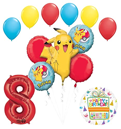 Pokemon 8th Birthday Party Supplies And Balloon Bouquet Decorations