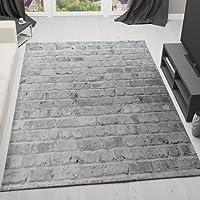 VIMODA Moderner Designer Teppich Stein Optik Mauer Muster Strapazierfähig in Grau Maße: 80x150 cm