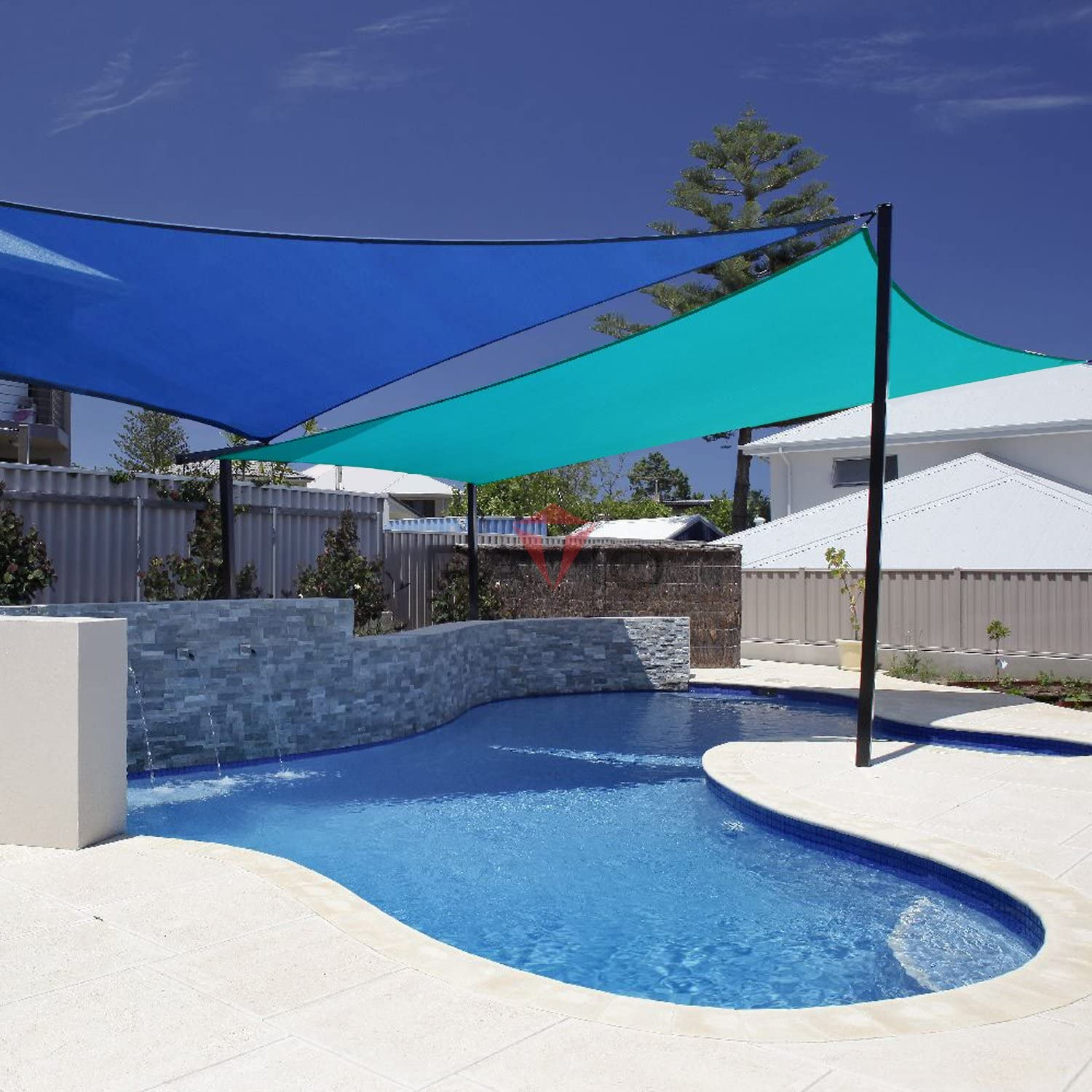 Patio Paradise 10' x 15' Solid Turquoise Green Sun Shade Sail Rectangle Square Canopy - Permeable UV Block Fabric Durable Outdoor - Customized Available