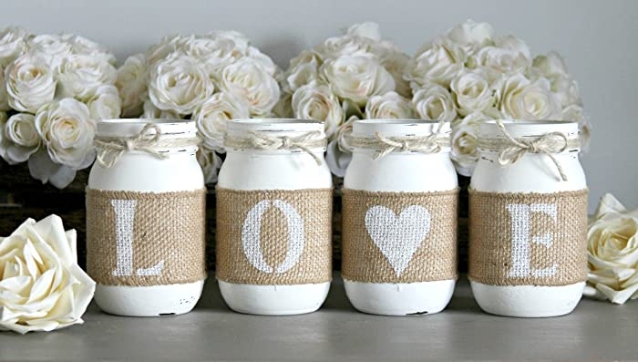 Amazon white rustic love decorative mason jars for home wedding white rustic love decorative mason jars for home wedding table centerpieces junglespirit Gallery