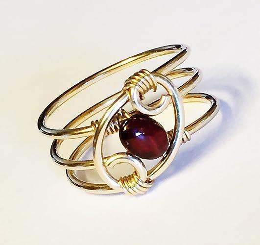 Amazoncom Garnet Gold Ring Handmade