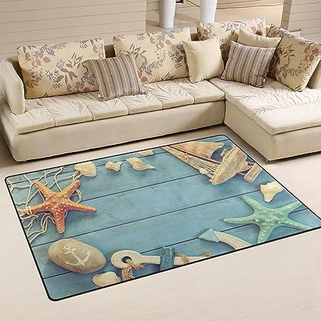 Use7 Nautical Life Starfish Anchor Boat Shell Area Rug Rugs Non Slip Floor Mat Doormats Living Room Bedroom 50 X 80 Cm 1 7 X 2 6 Ft Amazon Co Uk Kitchen Home